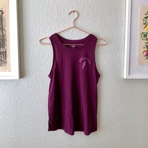 Maroon Workout Tank Top with Graphic